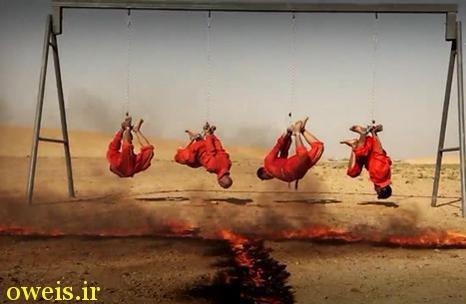 زنده سوزاندن پدر و سه پسر توسط داعش